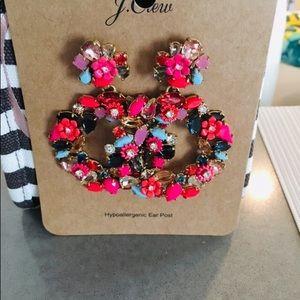 JCrew floral colorful Hoop Earrings 🌸